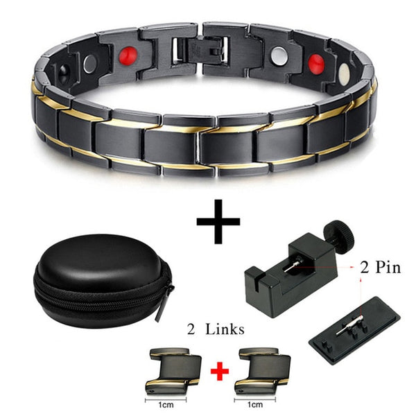 Drop-Shipping Black Men's Magnetic Health Bracelets & Bangles 316L Stainless Steel Energy Germanium Charm Bracelet Jewelry 10087