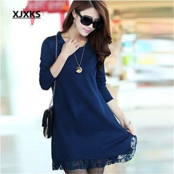 XJXKS New 2019 Women's Autumn And Winter Plus Size Loose Long Sweater Fashion Knitwear Dress Turtleneck Bottoming Pullover