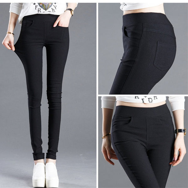 WKOUD 2020 Solid Pencil Pants Women's Full Length Leggings High Waist Stretch Trousers Female Casual Wear Black White P8823