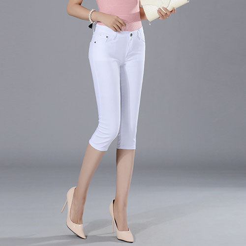 Skinny Women's Capris Jeans Pants Female Knee Length Stretch Slim Jeans shorts Women Candy Color Summer Denim Jeans Shorts