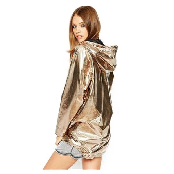 Fashion women's spring and autumn jacket long-sleeved gold PVC raincoat zipper punk unisex waterproof raincoat set