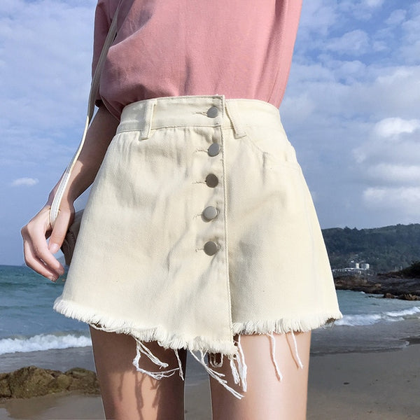 Garemay Skirt Denim Shorts White Korean Vintage Wide Leg High Waist Female Loose Women's Summer Shorts Jeans Button