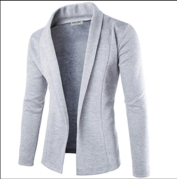 Men's Casual Slim Fit Solid No Button Suit Blazer Business Work Coat Jacket Outwear