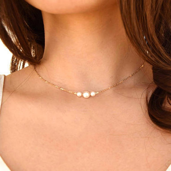 Delicate Imitation Pearls Choker Necklaces Wedding Bride Jewelry Women's Silver Gold Chocker Necklace Female Party