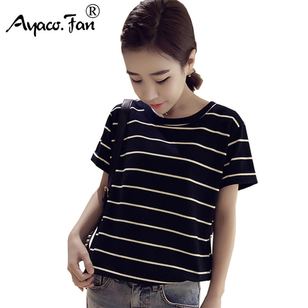 Women's T-shirts for Ladies Girls Student Harajuku Summer New Loose Striped Tops Tees Casual Female Kawaii Clothes Women Tshirt