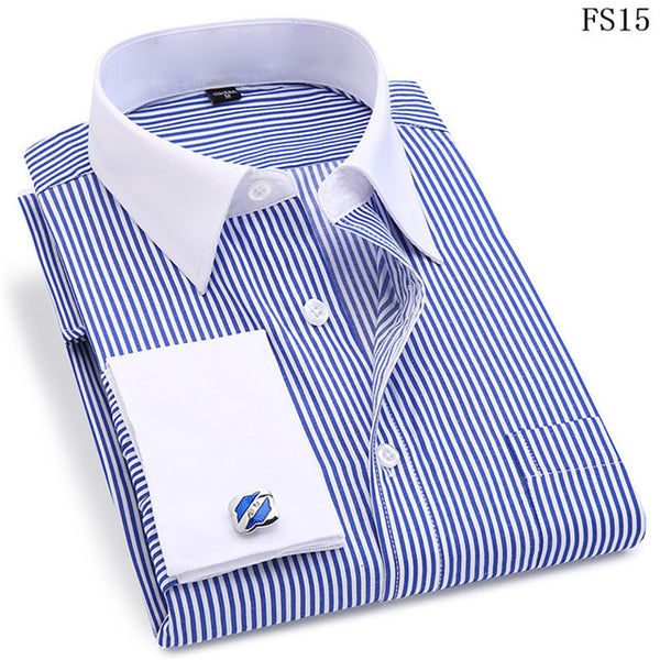 Men French Cufflinks Shirt 2020 New Men's Stripes Shirt Long Sleeve Casual Male Brand Shirts Slim Fit French Cuff Dress Shirts