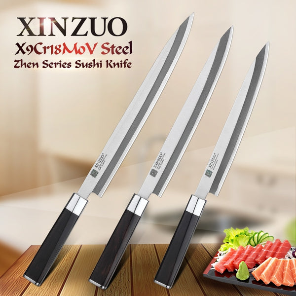 XINZUO 9.5/10.5/12 inch Fishing Filleting Kitchen Knives X9Cr18MoV Steel Sushi Knife Stainless Steel Sashimi Knife Ebony Handle