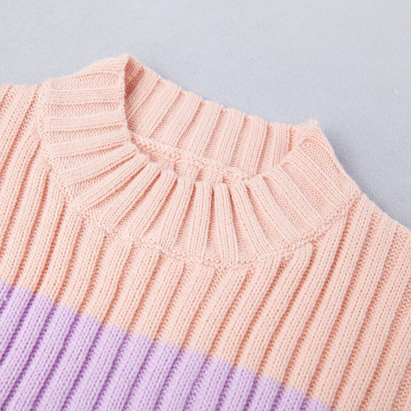 Women's Rainbow Sweaters Macaron Slim Knitted Pullover O-neck Autumn&Winter Knitwear Ladies Short Jumper Woman Tops
