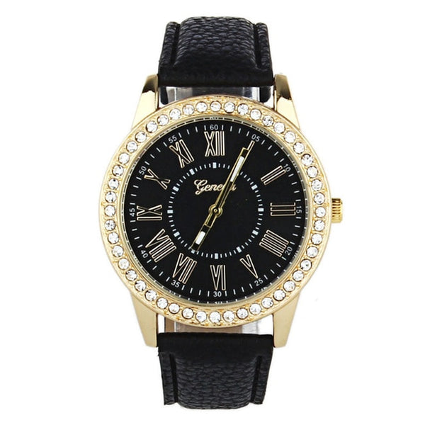 Women Watches Women Quartz Watches  Fashion Geneva Rhinestone Leather Popular Band women's Wrist Watch Dropshipping