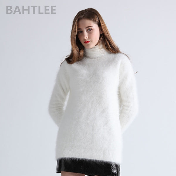 Winter women's angora Jumper turtleneck pullovers knitting sweater long style long sleeve keep warm white