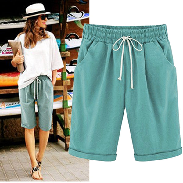 New Summer Women's Harajuku Shorts 6XL Fashion High Waist Loose Wide Leg Long Shorts Ladies Drawsring Tooling Shorts Plus Size