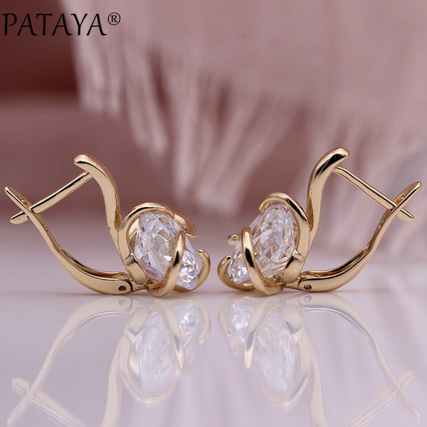 New Round Big Natural Zircon Drop Earrings 585 Rose Gold Unique Hyperbole Curve Earring Women Simple Fine Fashion Jewelry