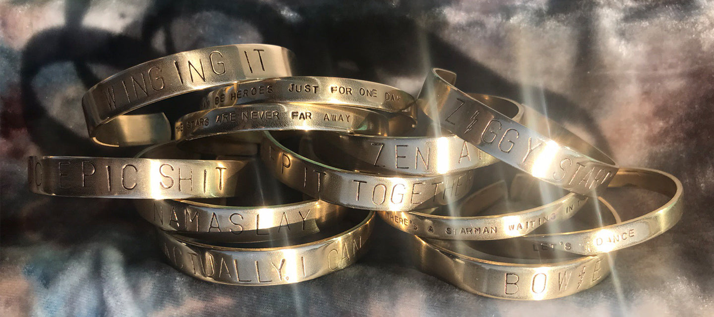 custom lyrics cuffs ziggy stardust bowie prince brass customized one of a kind unique made just for you