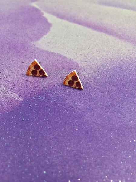 sleepy mountain pepperoni pizza earrings