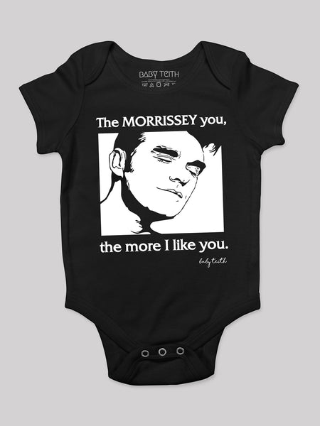 baby teith morrissey the morrissey you the more i like you suzboots baby onesie bodysuit black music smiths pop culture