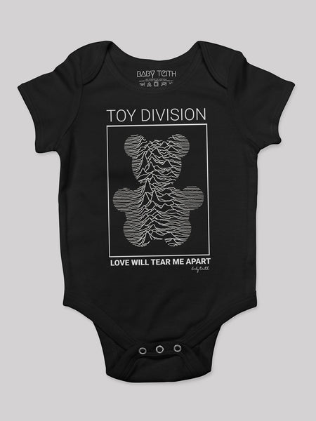 baby teith toy division joy division love will tear me apart baby onesie bodysuit music pop culture post-punk
