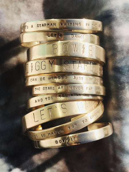 custom jewelry hand-stamped cuff bracelet brass david bowie lyrics rachael ray every day everyday magazine