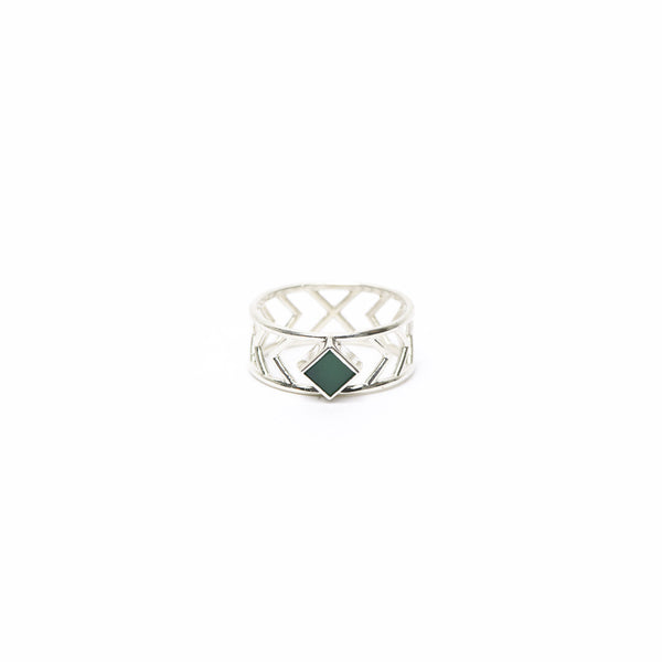 Odyssey Collection: The Continuum Ring:  Silver + Chrysoprase