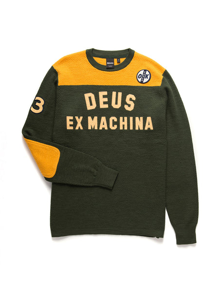 Moto X Knit Sweater: Green/Gold
