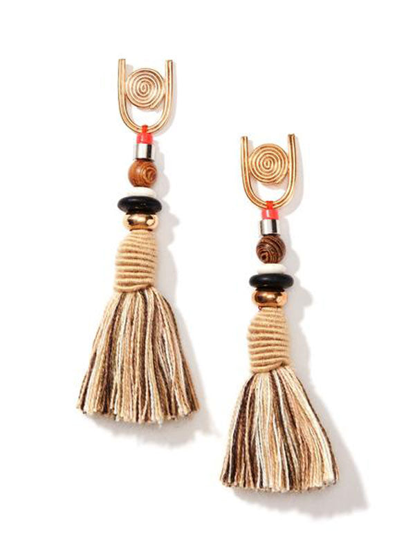 nectar nectar spiral gemstone tassel earrings