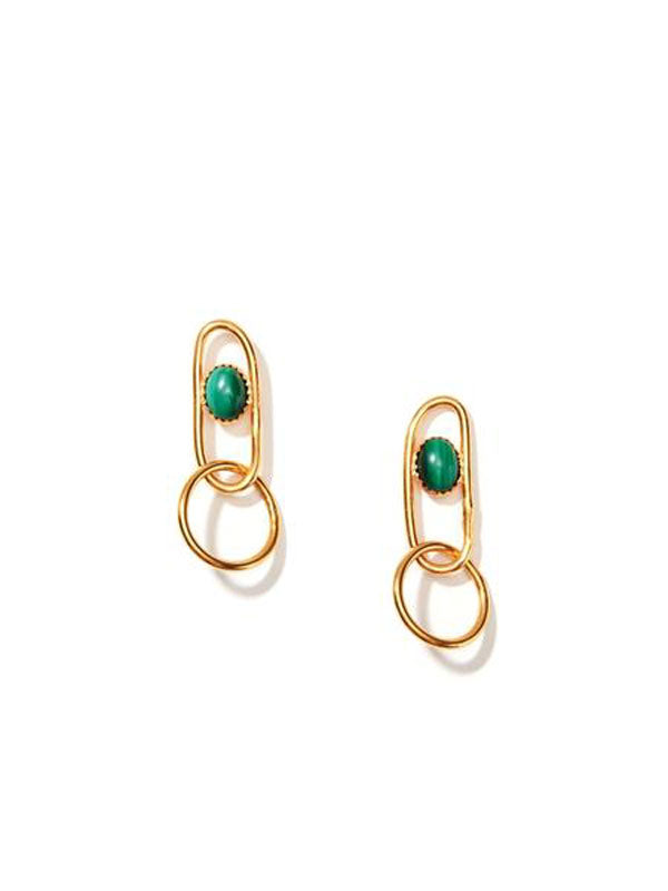 nectar nectar malachite linked sphere earrings