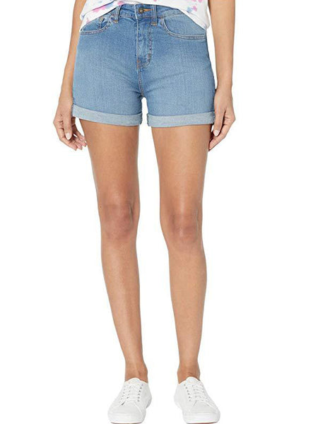 High Rise Rolled Cuff Shorts: Archive Wash