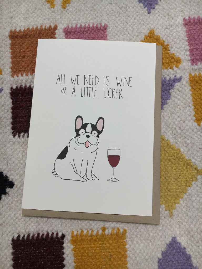 Wine and A Little Licker Card