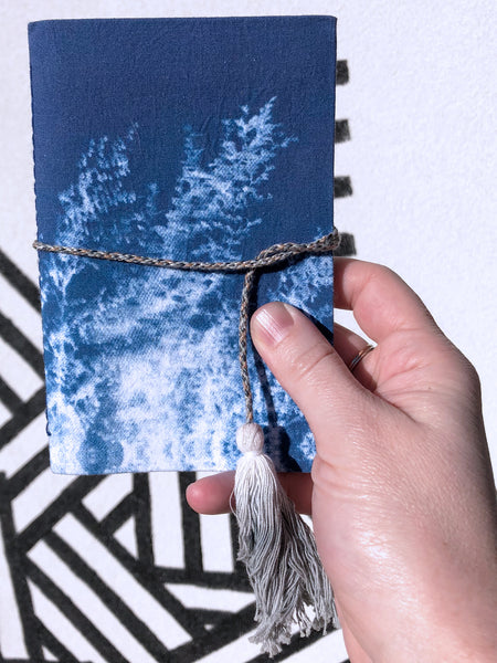 printfresh fabric notebook journal cyan switchgrass cyanotype