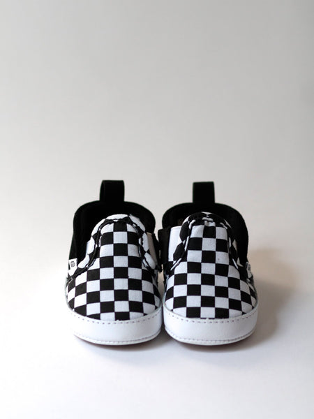 unique vans, baby vans, baby shoes, infant vans, infant slip-on v crib, checker vans, checkerboard vans, checked vans, cool baby shoes, cool baby gifts, unique baby gifts