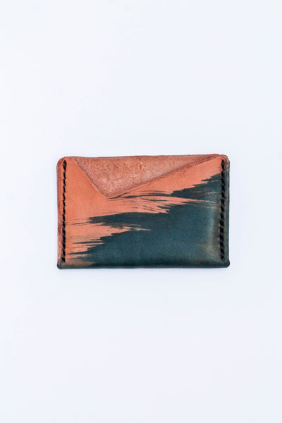 Hand Dyed Leather Card Holder: Deep Blue Brush