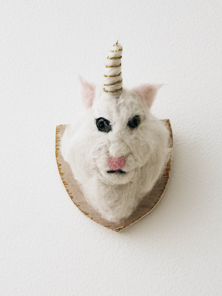 cody foster fake cat unicorn felted trophy