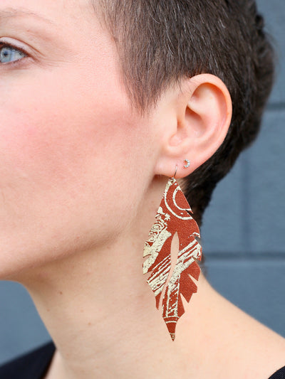 leather feather minis wild west edge of urge original earrings
