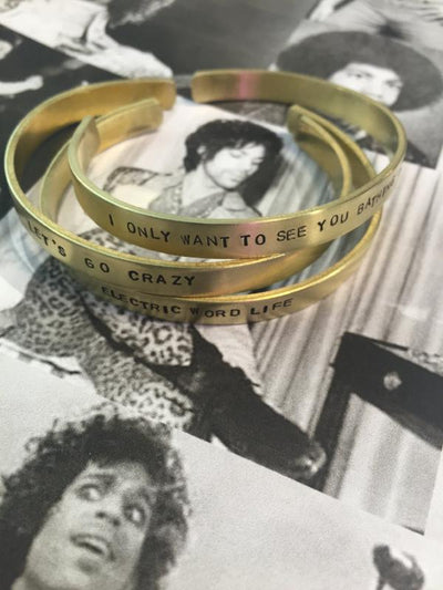 custom jewelry hand-stamped cuff bracelet brass rachael ray everyday every day magazine prince lyrics