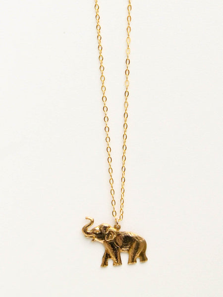 edge of urge elephant necklace brass talisman totem animal