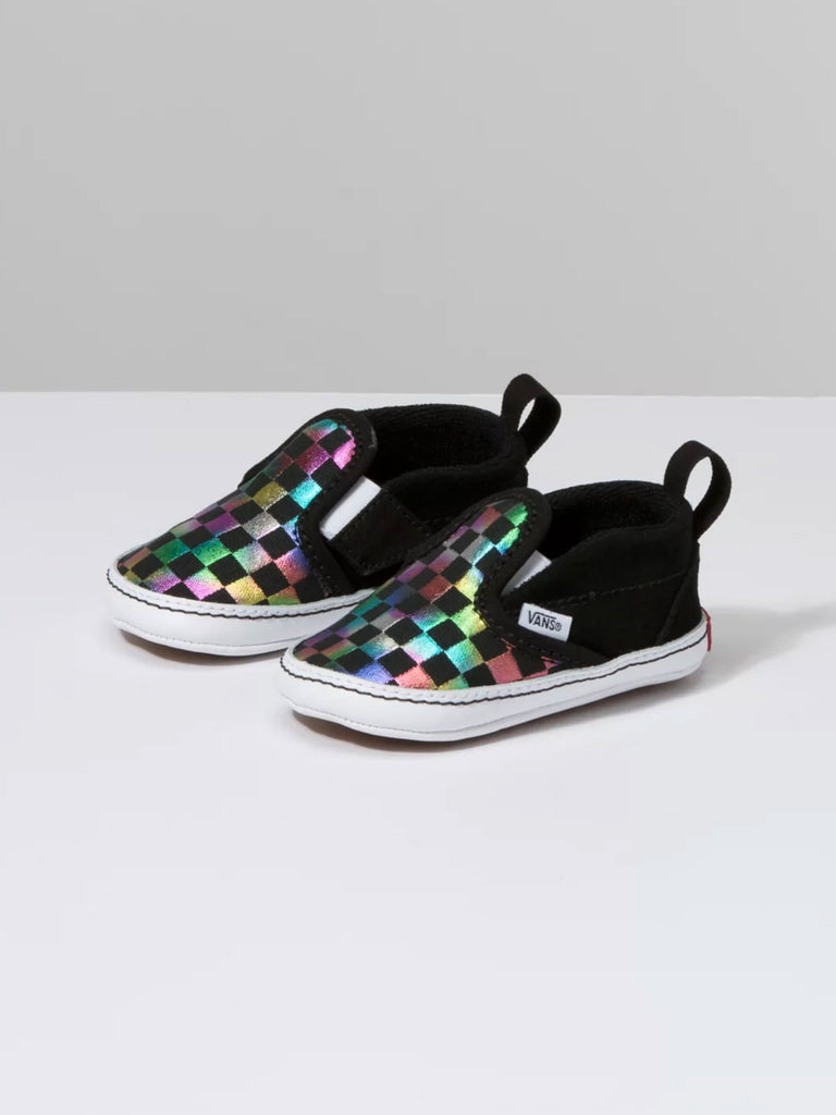 Infant Slip-On V Crib: Iridescent Check Black/True White