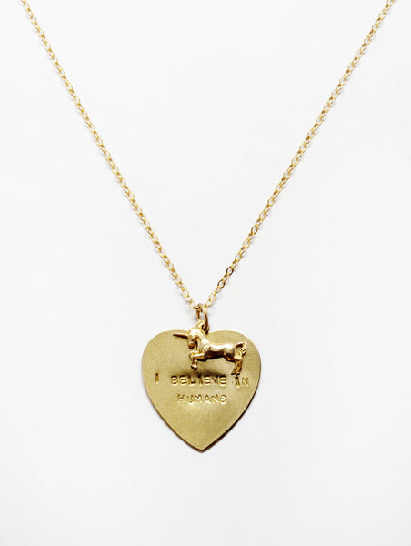 I Believe in Humans Necklace by Linwood