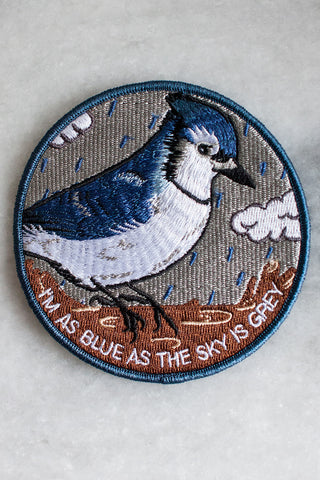 I'm As Blue As The Sky Is Grey Iron-on Patch