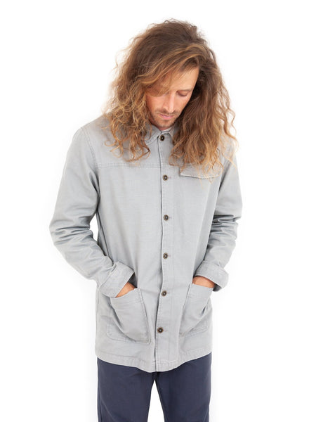roamers mission work jacket pale grey gray light gray pockets workwear organic cotton