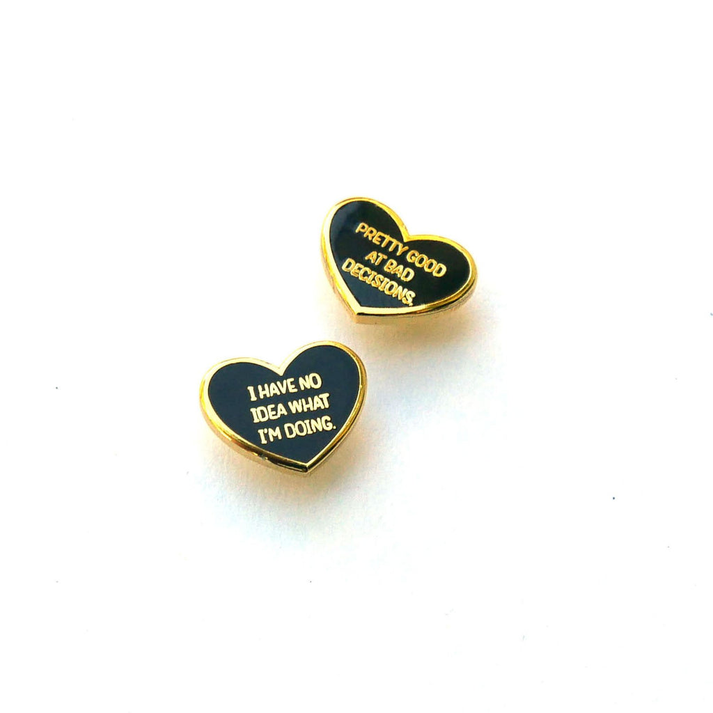 Black Heart Enamel Pin (Set of 2)
