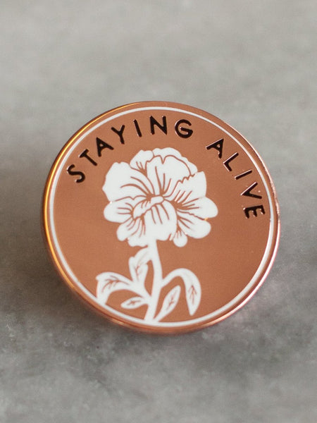 stay home club pin rose gold metal pin staying alive