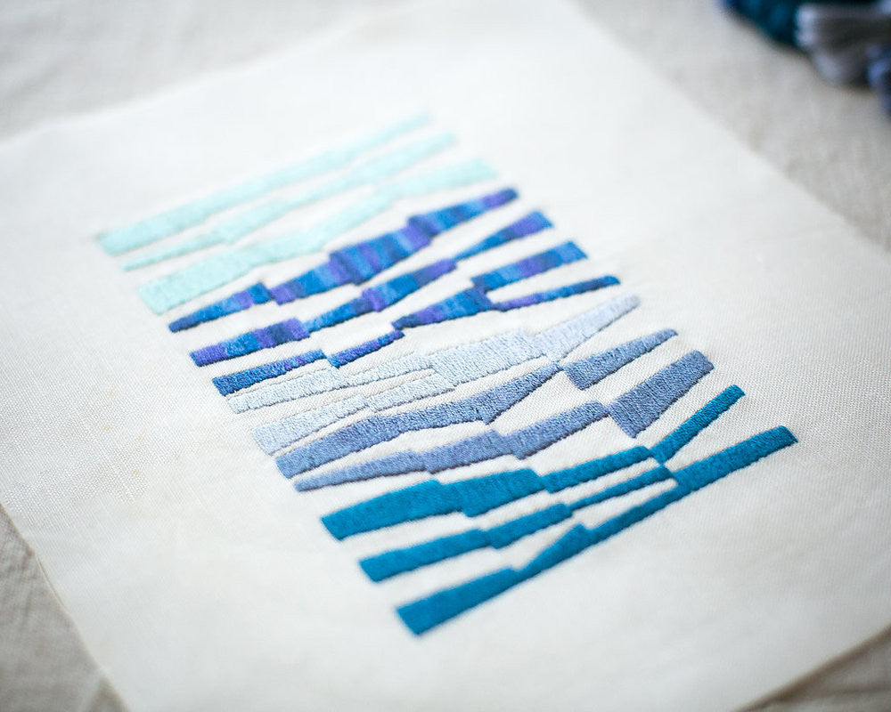 Stripes Blue Embroidery Kit