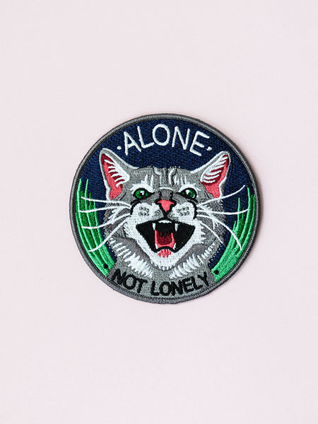 stay home club iron on patch alone not lonely cat