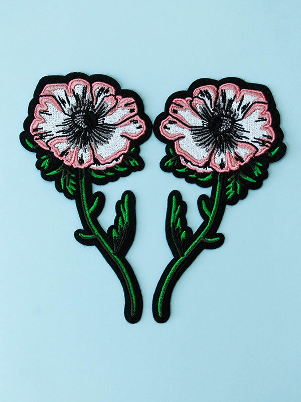 stay home club anemone flower iron on patches