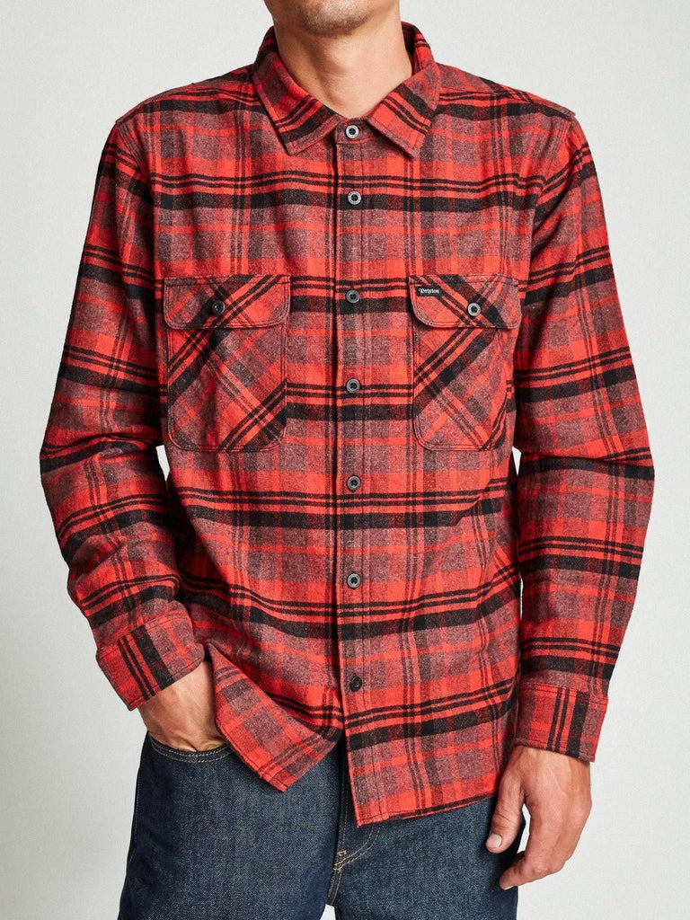 brixton l/s longsleeved flannel black red plaid