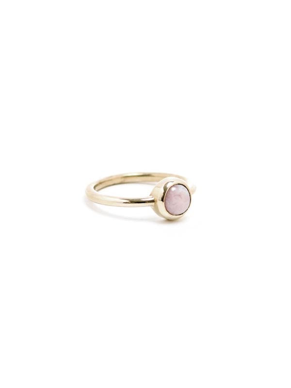 Pink Opal Aura Ring: Brass