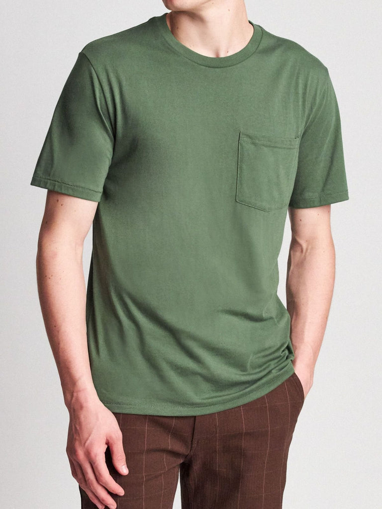 brixton basic s/s short sleeve pocket tee leaf green
