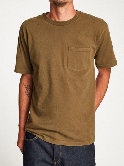 brixton basic short-sleeve pocket tee dusty olive