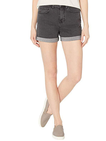 High Rise Rolled Cuff Shorts: Black Fade