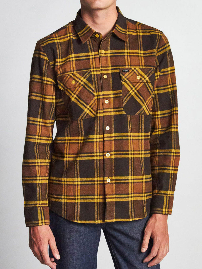 Bowery L/S Flannel: Brown/Gold