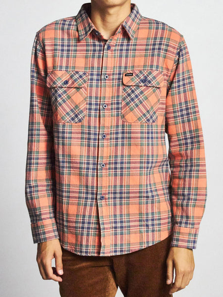 Bowery L/S Flannel: Salmon/Navy